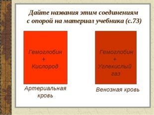 Дайте названия этим соединениям с опорой на материал учебника (с.73) Артериа
