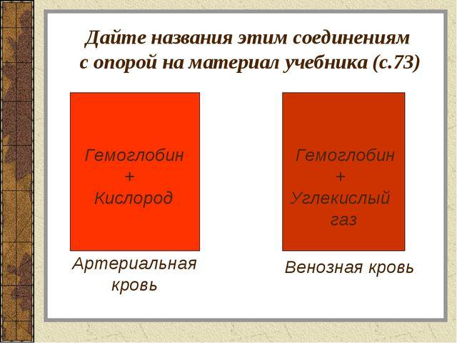 Дайте названия этим соединениям с опорой на материал учебника (с.73) Артериа...