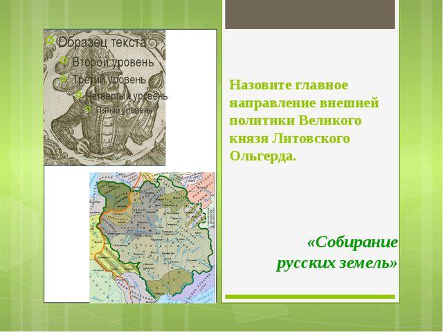 Назовите главное направление внешней политики Великого князя Литовского Ольге...