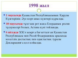 1998 жыл 1 маусымда Қазақстан Республикасының Қарулы Күштерінің Әуе қорғаныс