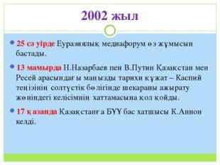 2002 жыл 25 сәуірде Еуразиялық медиафорум өз жұмысын бастады. 13 мамырда Н.На