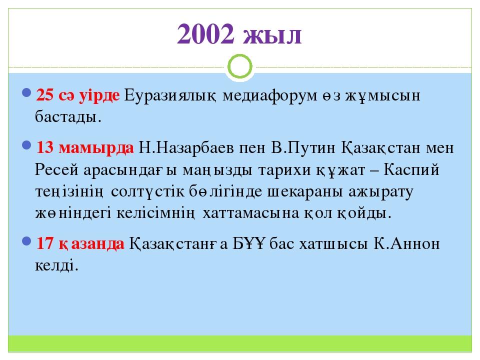 2002 жыл 25 сәуірде Еуразиялық медиафорум өз жұмысын бастады. 13 мамырда Н.На...