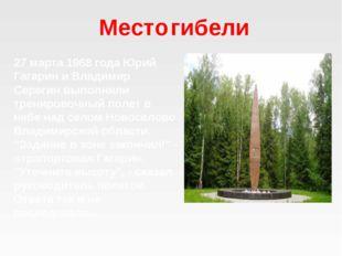 Место гибели 27 марта 1968 года Юрий Гагарин и Владимир Серегин выполняли тре