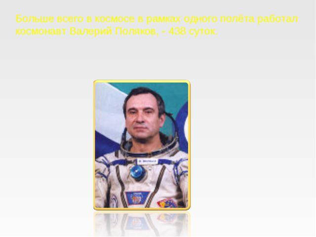 Больше всего в космосе в рамках одного полёта работал космонавт Валерий Поляк...