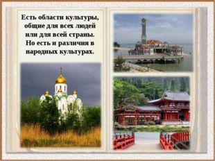 Есть области культуры, общие для всех людей или для всей страны. Но есть и ра