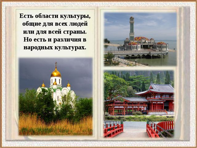 Есть области культуры, общие для всех людей или для всей страны. Но есть и ра...