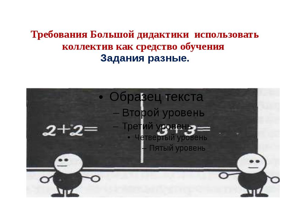 Требования Большой дидактики использовать коллектив как средство обучения За...