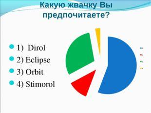 Какую жвачку Вы предпочитаете? 1) Dirol 2) Eclipse 3) Orbit 4) Stimorol