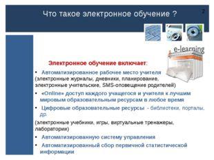 Электронное обучение включает: Автоматизированное рабочее место учителя (эле