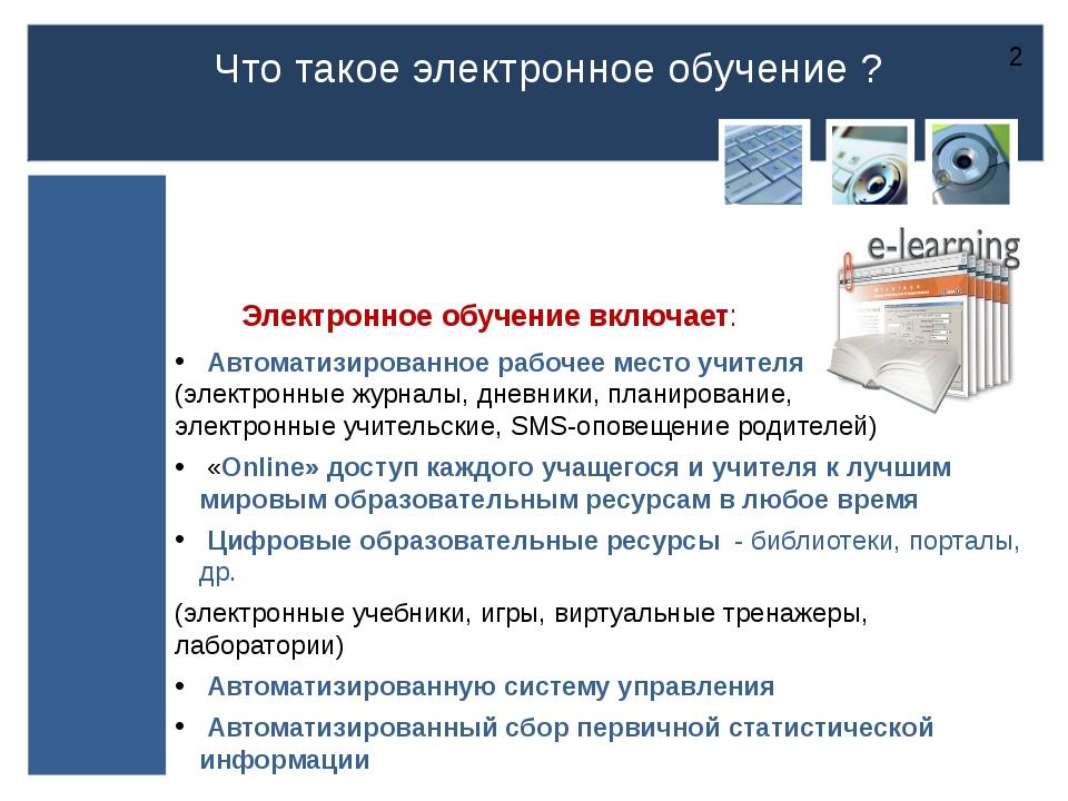 Электронное обучение включает: Автоматизированное рабочее место учителя (эле...