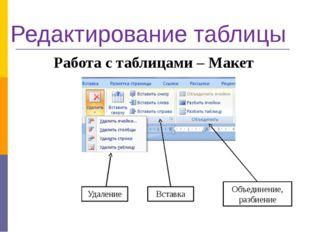 Редактирование таблицы Работа с таблицами – Макет Вставка Удаление Объединени