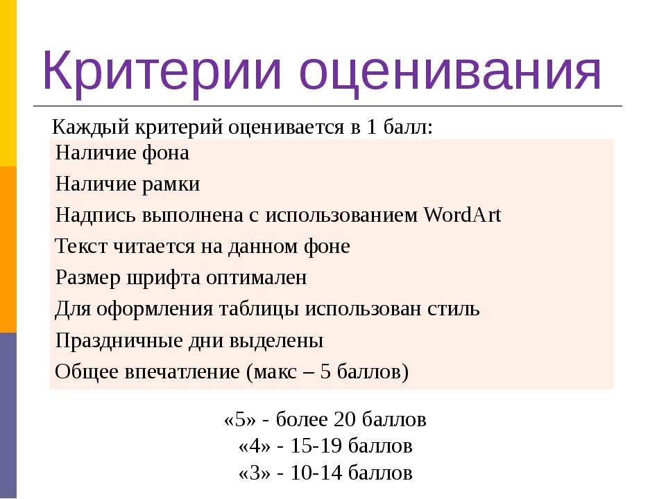 Критерии оценивания Каждый критерий оценивается в 1 балл: «5» - более 20 бал...