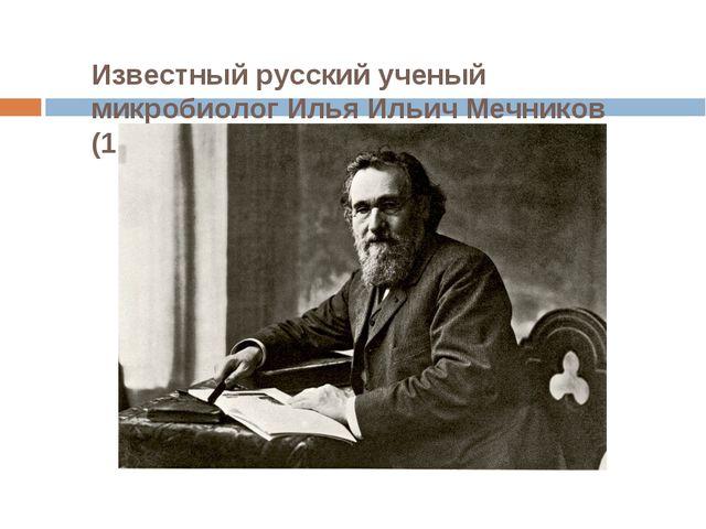 Известный русский ученый микробиолог Илья Ильич Мечников (1845 —1916 гг.).