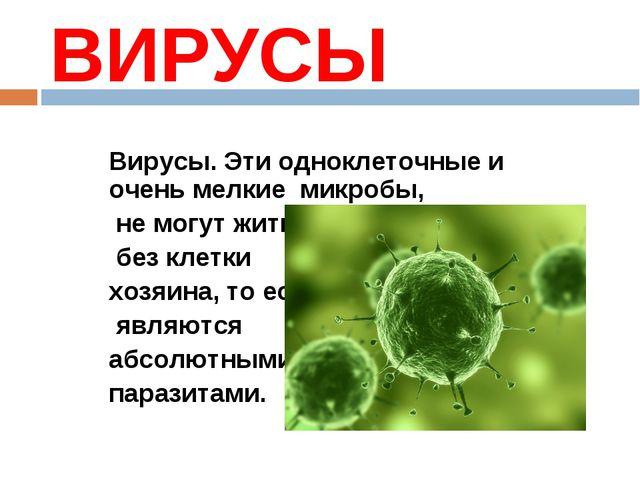 ВИРУСЫ Вирусы. Эти одноклеточные и очень мелкие микробы, не могут жить без кл...
