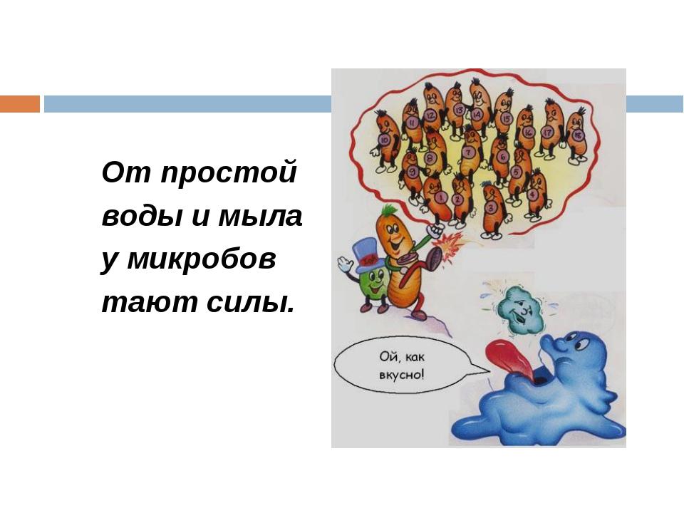 От простой воды и мыла у микробов тают силы.