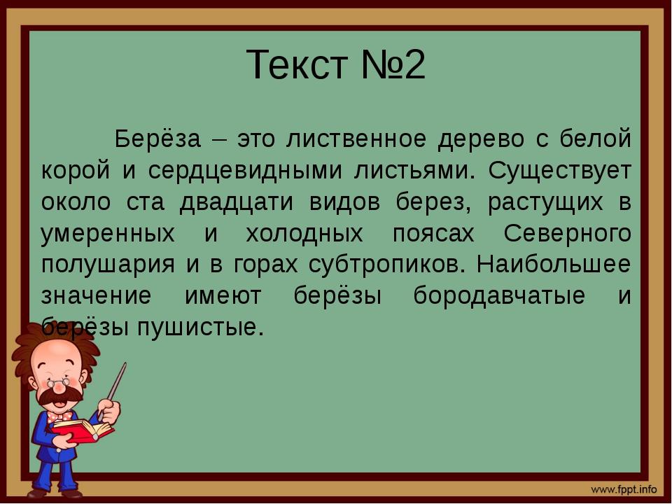 Текст №2 Берёза – это лиственное дерево с белой корой и сердцевидными листьям...