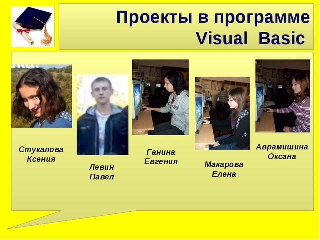 Проекты в программе Visual Basic Макарова Елена Ганина Евгения Аврамишина Окс...