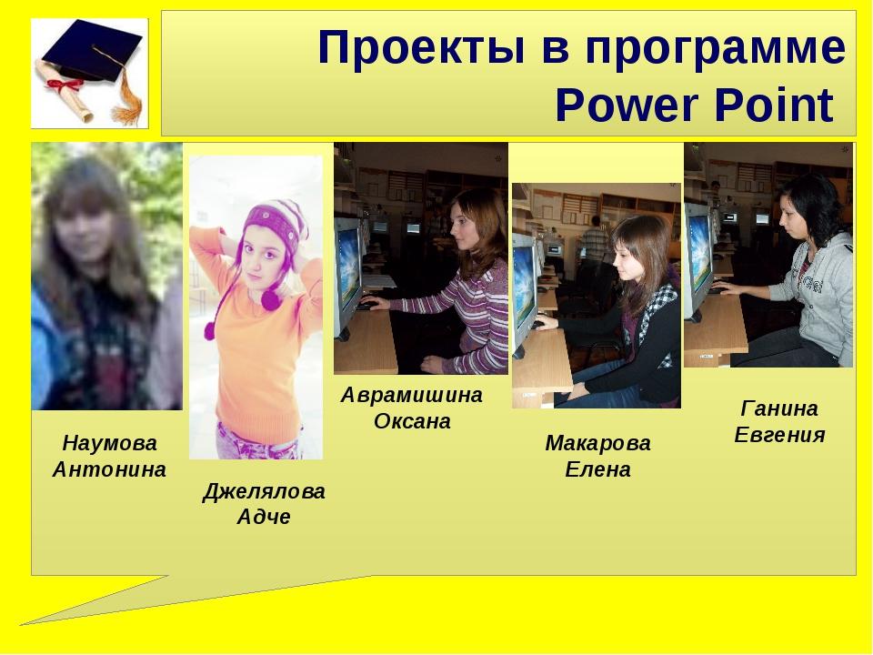 Проекты в программе Power Point Джелялова Адче Аврамишина Оксана Наумова Анто...