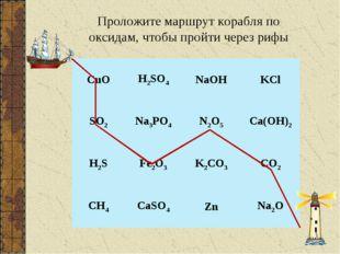 Проложите маршрут корабля по оксидам, чтобы пройти через рифы CuOH2SO4NaOH