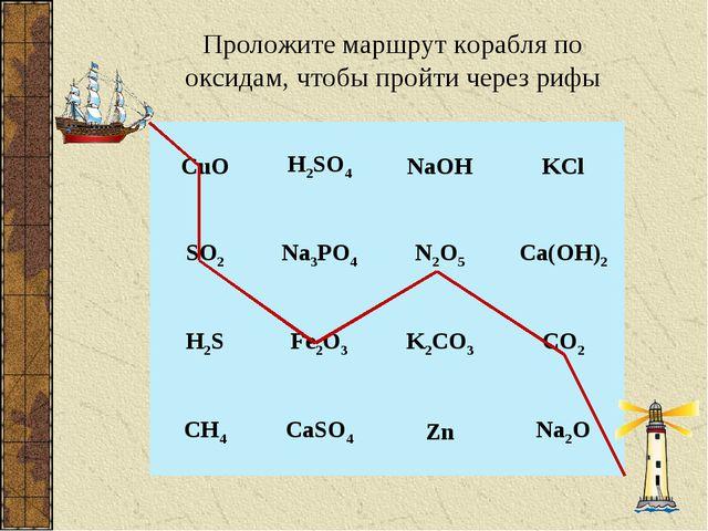 Проложите маршрут корабля по оксидам, чтобы пройти через рифы CuOH2SO4NaOH...