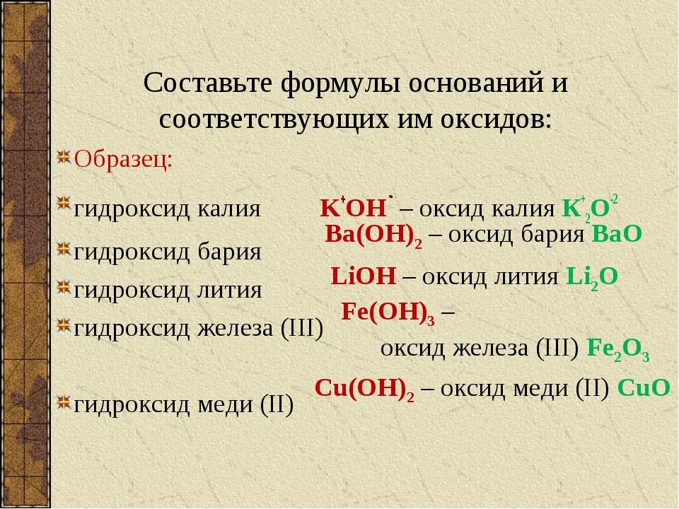 Составьте формулы оснований и соответствующих им оксидов: Образец: гидроксид...