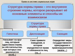 Право в системе социальных норм Структура нормы права – это внутренне строени
