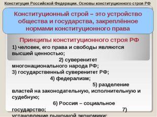 Конституция Российской Федерации. Основы конституционного строя РФ Конституци