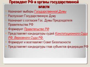 Президент РФ и органы государственной власти Назначает выборы Государственно
