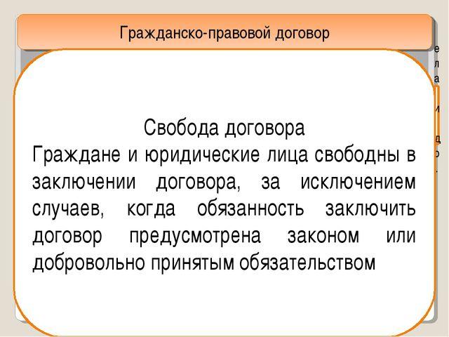 Гражданско-правовой договор ела и др. Свобода договора Граждане и юридические...