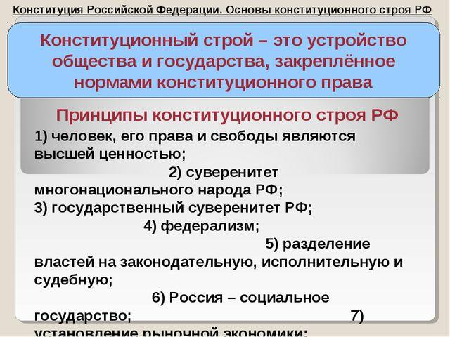 Конституция Российской Федерации. Основы конституционного строя РФ Конституци...
