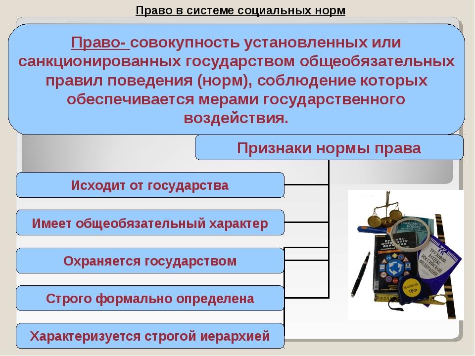 Право в системе социальных норм Право- совокупность установленных или санкцио...