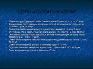 Этапы и сроки проведения Мозговой штурм» (формулирование тем исследований уче