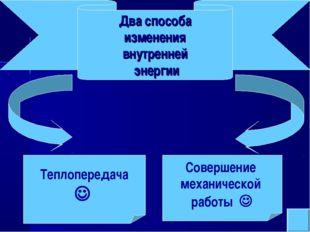 Теплопередача  Совершение механической работы  Два способа изменения внутре