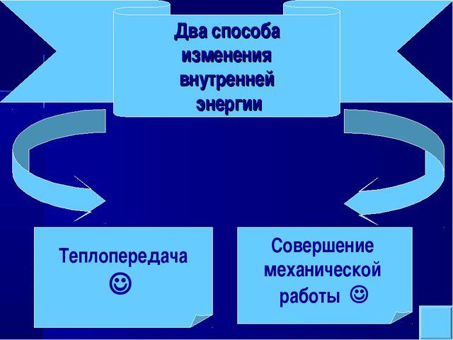 Теплопередача  Совершение механической работы  Два способа изменения внутре...