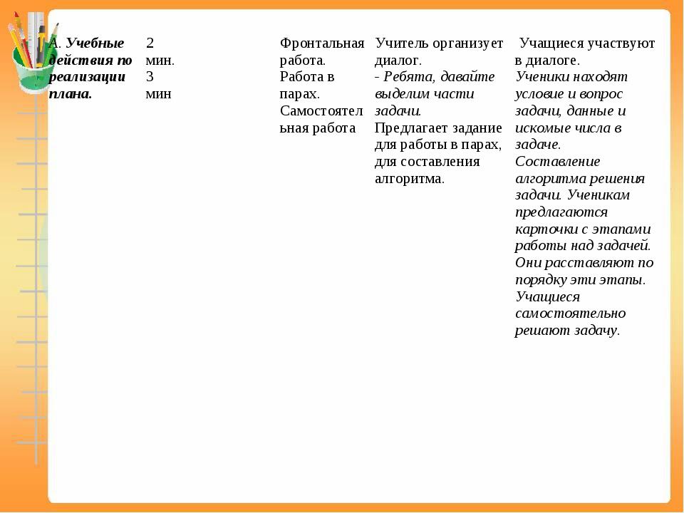 А. Учебные действия по реализации плана.2 мин. 3 минФронтальная работа. Ра...