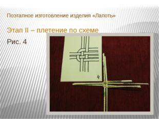 Поэтапное изготовление изделия «Лапоть» Этап II – плетение по схеме Рис. 4