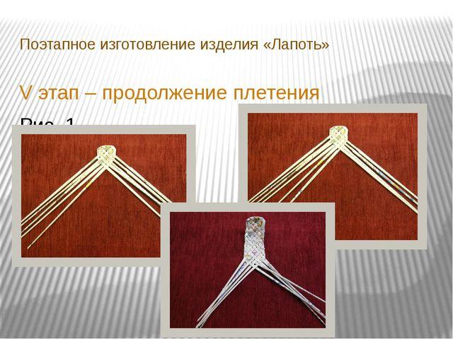 Поэтапное изготовление изделия «Лапоть» V этап – продолжение плетения Рис. 1