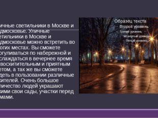 Уличные светильники в Москве и Подмосковье. Уличные светильники в Москве и По