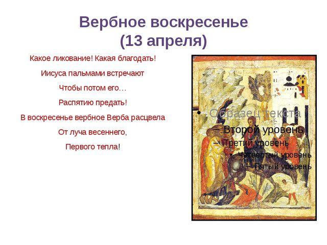 Вербное воскресенье (13 апреля) Какое ликование! Какая благодать! Иисуса паль...