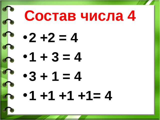 Состав числа 4 2 +2 = 4 1 + 3 = 4 3 + 1 = 4 1 +1 +1 +1= 4