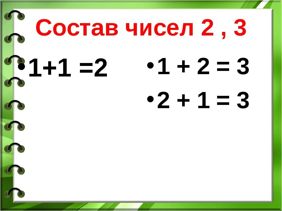 Состав чисел 2 , 3 1+1 =2 1 + 2 = 3 2 + 1 = 3