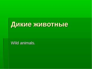 Дикие животные Wild animals.