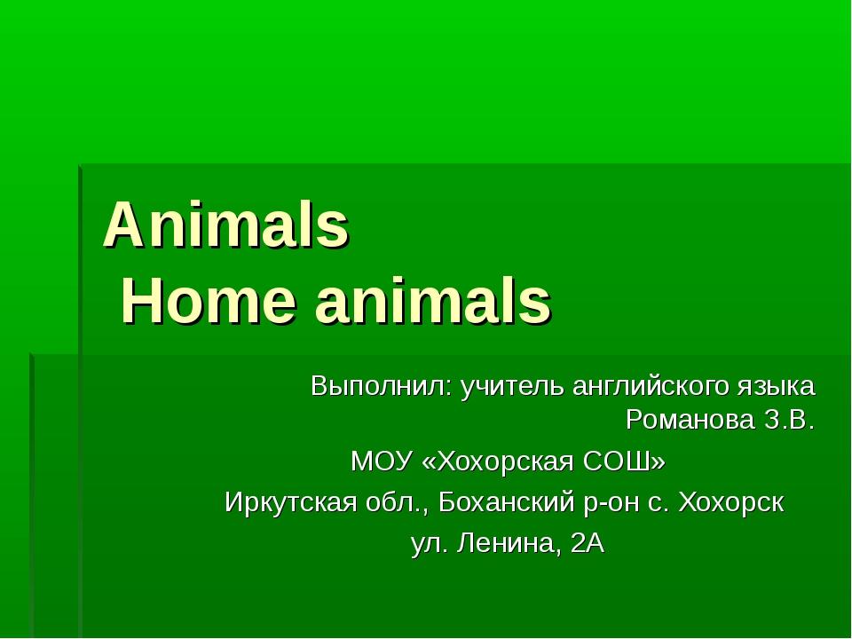 Animals Home animals Выполнил: учитель английского языка Романова З.В. МОУ «Х...