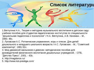 Список литературы 1.Ветлугина Н.А., Теория и методика музыкального воспитания