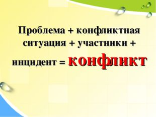 Проблема + конфликтная ситуация + участники + инцидент = конфликт