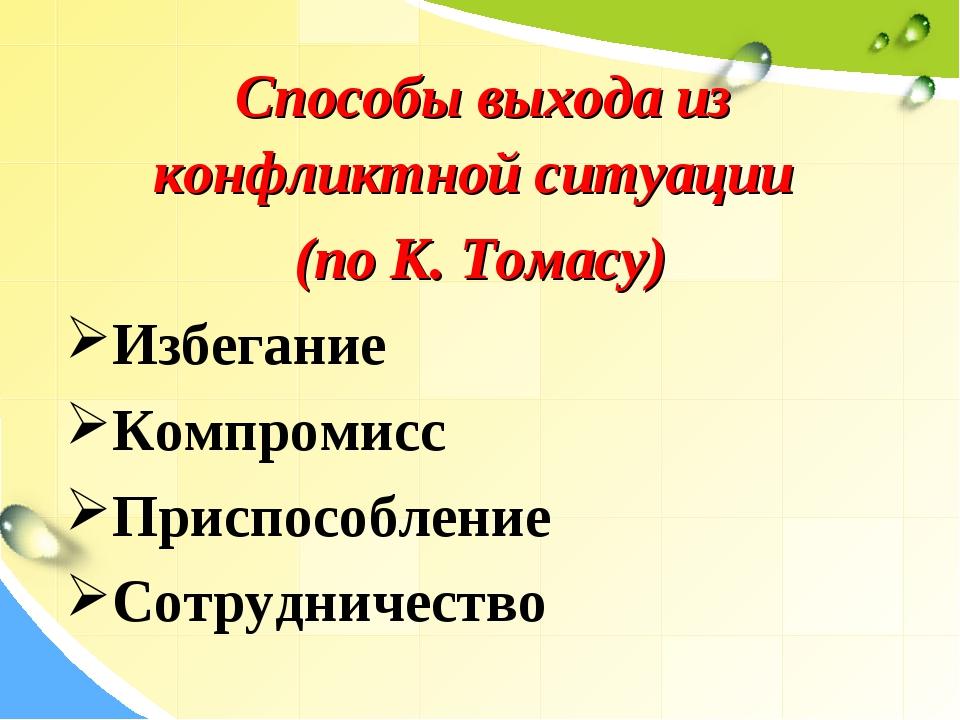 Способы выхода из конфликтной ситуации (по К. Томасу) Избегание Компромисс П...