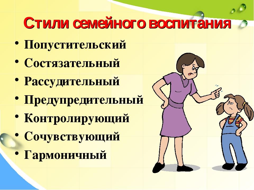 Стили семейного воспитания Попустительский Состязательный Рассудительный Пред...