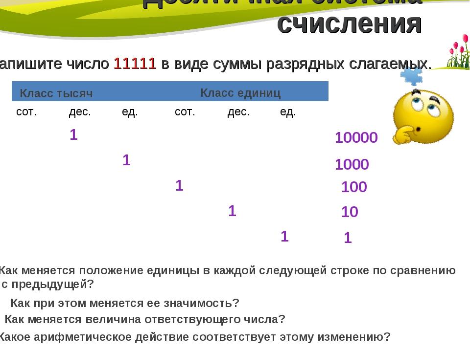 Десятичная система счисления Запишите число 11111 в виде суммы разрядных слаг...