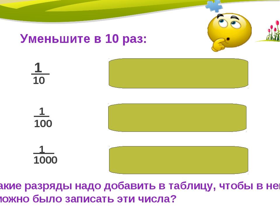1/1000:10=1/10000 1/100:10=1/1000 Уменьшите в 10 раз: 1 10 1 100 1 1000 1/10:...