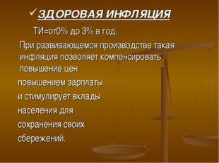 ЗДОРОВАЯ ИНФЛЯЦИЯ ТИ=от0% до 3% в год. При развивающемся производстве така